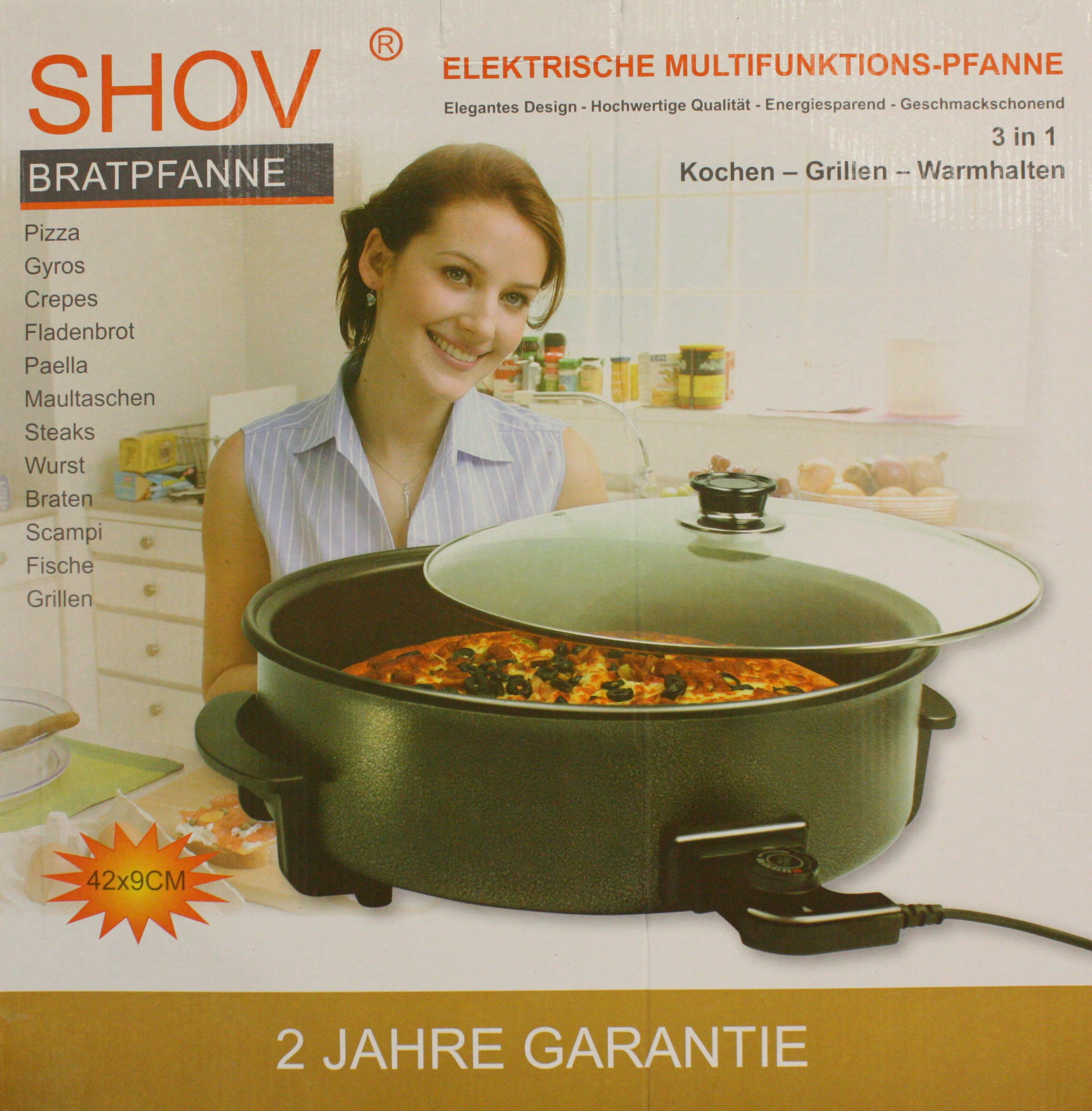 elektrische multipfanne shov bratpfanne 42x9 cm cm pizzapfanne partypfanne. Black Bedroom Furniture Sets. Home Design Ideas
