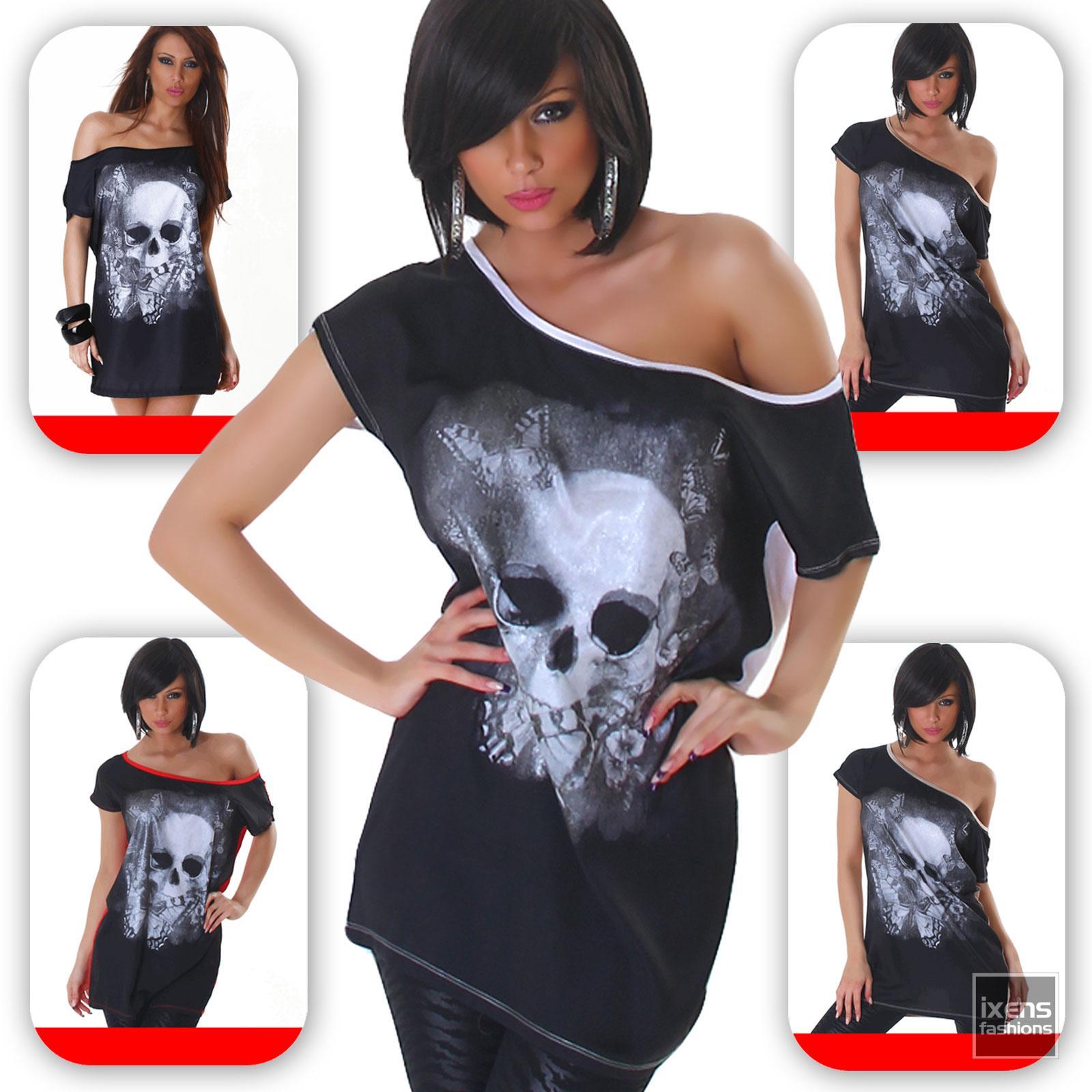 damen top shirt skull totenkopf 34 36 38 40 t shirt ebay. Black Bedroom Furniture Sets. Home Design Ideas