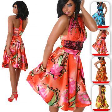 Damen Sommer Neckholder Kleid V-Ausschnitt Push Up Party Cocktail ...