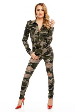 damen army overall camouflage einteiler kost m uniform tarnmuster slim jumpsuit ebay. Black Bedroom Furniture Sets. Home Design Ideas