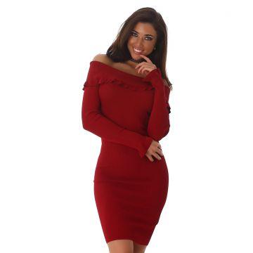 Voyelles Damen Kleid Carmen Ausschnitt Ripp Etuikleid Party Schulterfrei  34-38
