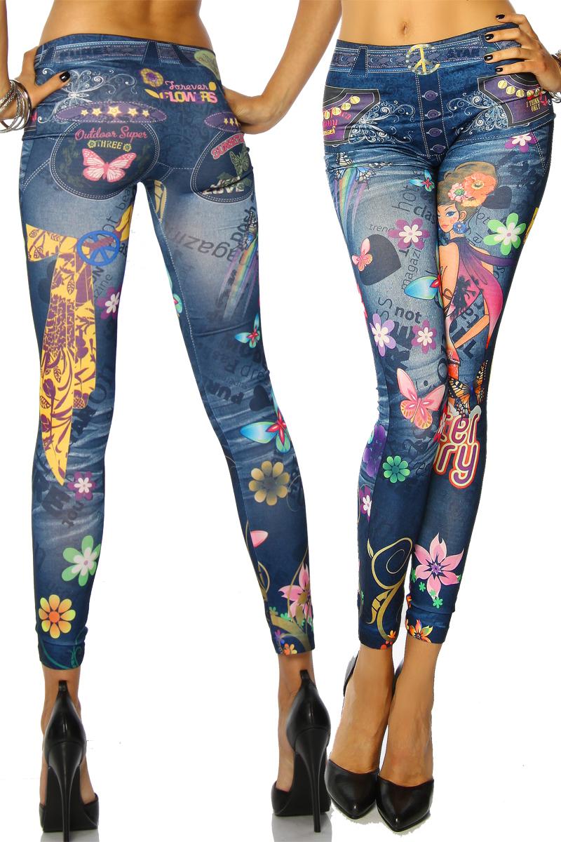 jeans print leggings damen hosen bunt flower power look fasching karneval ebay. Black Bedroom Furniture Sets. Home Design Ideas