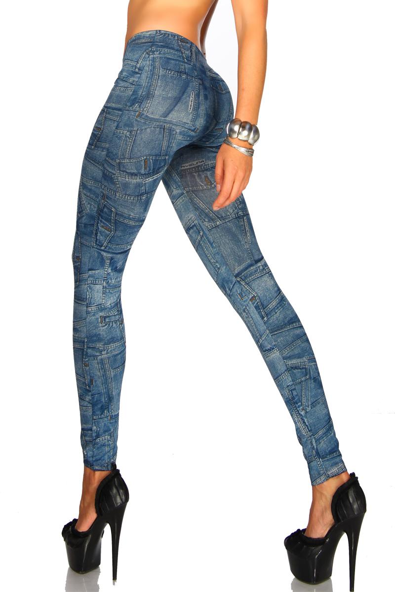 damen jeans print leggings jeggings blau oder grau leggins. Black Bedroom Furniture Sets. Home Design Ideas
