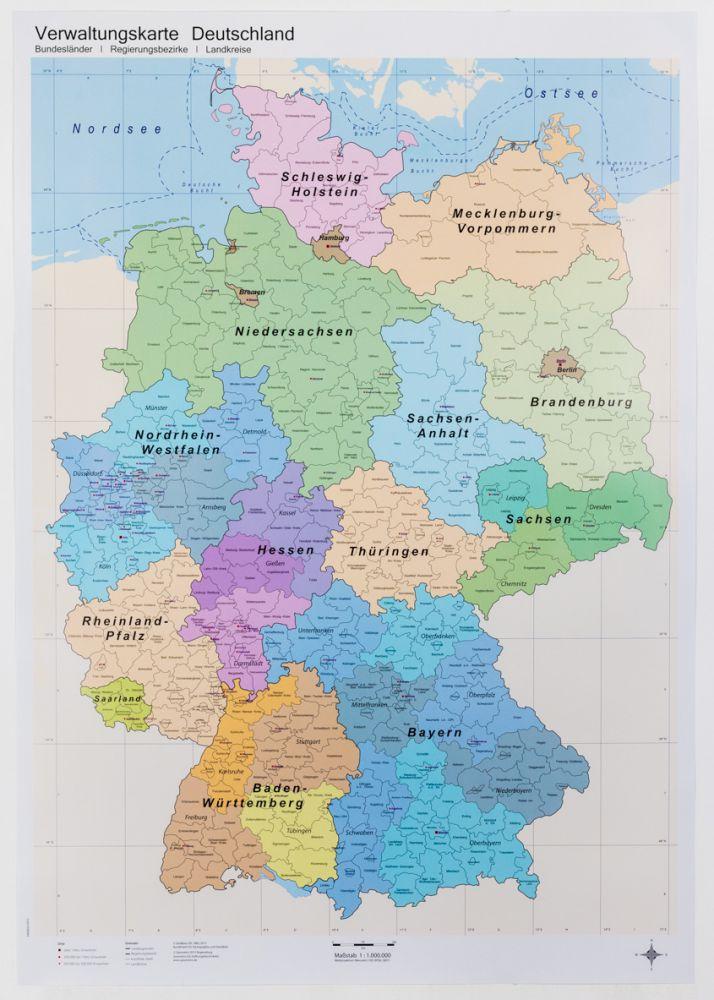 Deutschlandkarte (Verwaltung / politisch), 1:800.000 ...