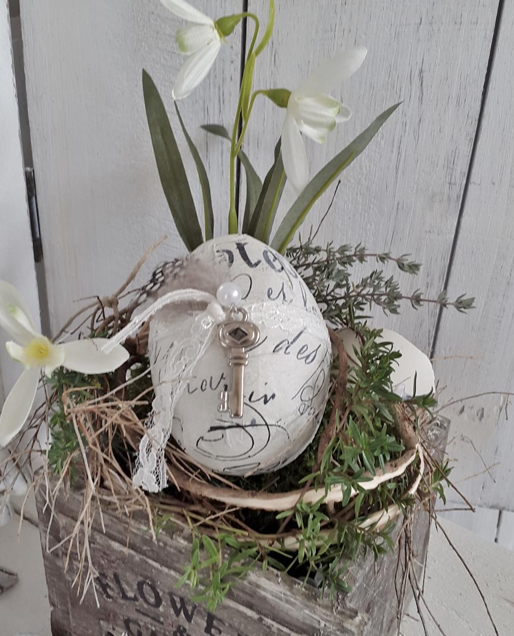 Holzkistchen Mit Hübsch Kleines Schwedenhaus Shabby Chic: Holzkistchen Frühlings Hübsch Vögelchen Kleines
