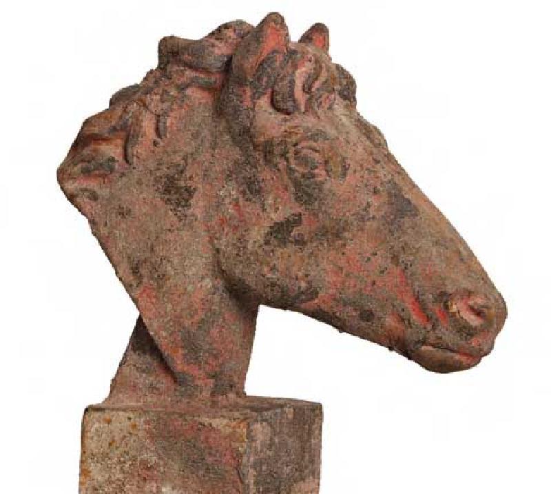Holzkistchen Mit Hübsch Kleines Schwedenhaus Shabby Chic: Statue Pferdekopf Vintage Shabby Chic Gartendeko Kleines