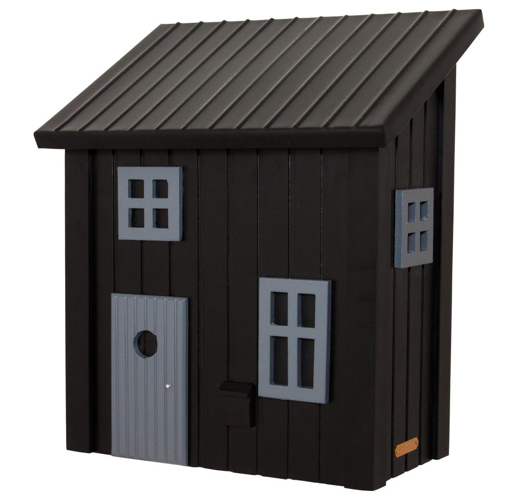 kleines schwedenhaus briefkasten postkasten holz schwarz schwedenkate landhaus ebay. Black Bedroom Furniture Sets. Home Design Ideas