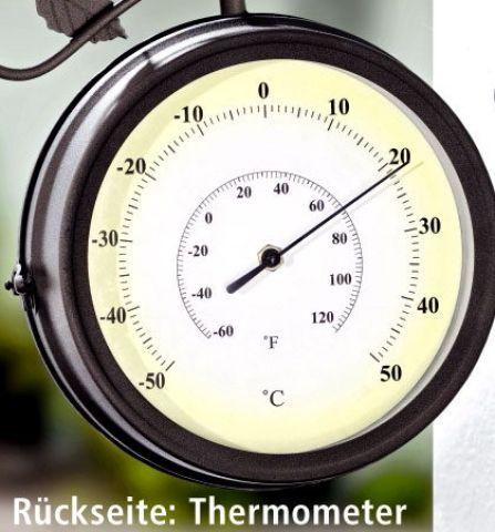 wanduhr mit vogelstimmen bahnhofsuhr mit thermometer weltbild ebay. Black Bedroom Furniture Sets. Home Design Ideas