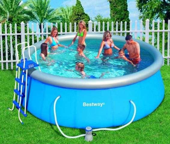 bestway fast set quick up pool 457x122 inkl leiter bodenplane abdeckhaube ebay. Black Bedroom Furniture Sets. Home Design Ideas