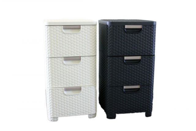 schubladenturm schubladenbox rattanoptik 3 f cher 14 liter anthrazit curver ebay. Black Bedroom Furniture Sets. Home Design Ideas