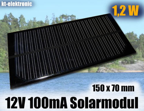 1x-12V-100mA-1-2W-150x70mm-Solarmodul-Solarzelle-Monokristallin-vergossen