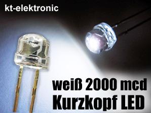 50x-LED-5mm-straw-hat-weiss-Kurzkopf-Flachkopf-2000mcd-110