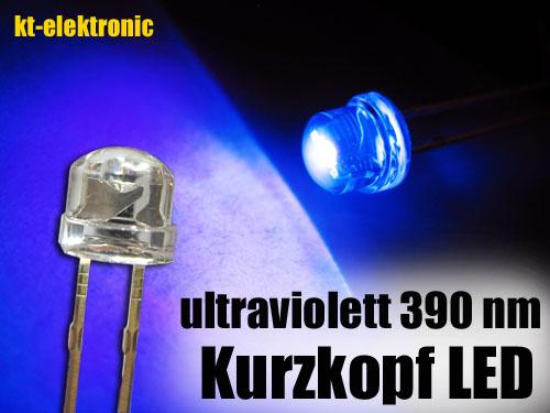 200-Stueck-LED-5mm-straw-hat-UV-ultraviolett-Kurzkopf-Flachkopf-110