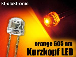 200x-LED-5mm-straw-hat-orange-Kurzkopf-Flachkopf-110