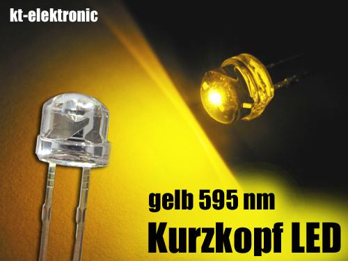 100x-LED-5mm-straw-hat-gelb-Kurzkopf-Flachkopf-110