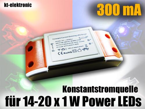 230V 300mA KSQ dimmbar für 14-20 x 1W Power LED Konstantstromquelle ...