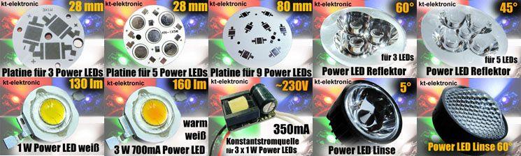 1x Power LED Emitter orange 1W 350mA 5mm Linse