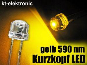 100x LED 5mm straw hat gelb, Kurzkopf, Flachkopf 110°