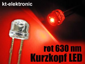 100x LED 5mm straw hat rot, Kurzkopf, Flachkopf 110°