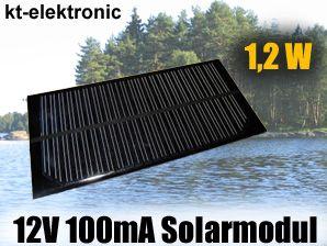 1x 12V 100mA 1,2W 150x70mm Solarmodul Solarzelle Monokristallin vergossen