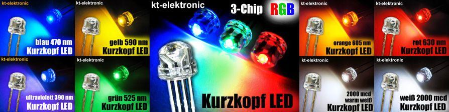 50x LED 5mm straw hat weiß, Kurzkopf, Flachkopf 2000mcd 110°