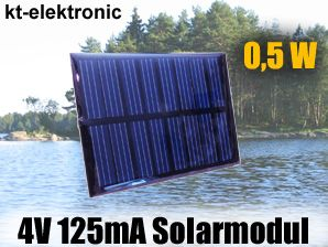 1x 4V 125mA 0,5W 60x80mm Solarmodul Solarzelle Polykristallin vergossen