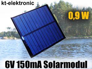 1x 6V 150mA 0,9W 85x85mm Solarmodul Solarzelle Polykristallin vergossen