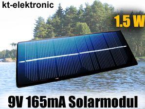 1x 9V 165mA 1,5W 180x70mm Solarmodul Solarzelle Monokristallin vergossen