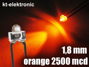 25x LED 1,8mm orange superhell