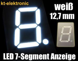 5x LED 7-Segment Ziffernanzeige weiß 12,7mm Sieben Segment Display gem. Anode(+)