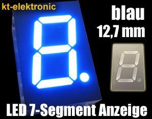5x LED 7-Segment Anzeige blau Ziffernanzeige 12,7mm Display gem. Anode (+)