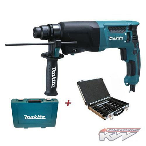 makita bohrhammer hr 2610 im koffer 13 tlg makita sds plus bohrer und mei els ebay. Black Bedroom Furniture Sets. Home Design Ideas