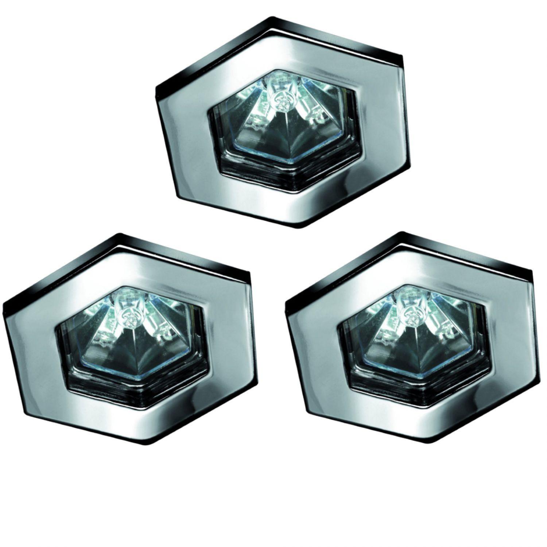paulmann einbauleuchten set hexa halogen 3x20w chrom einbaustrahler 99591 ebay. Black Bedroom Furniture Sets. Home Design Ideas
