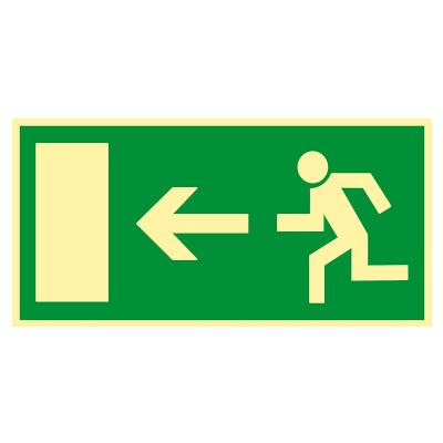 Rettungszeichen-Rettungsweg-Schild-links-Kunststoff-nachleuchtend-selbstklebend