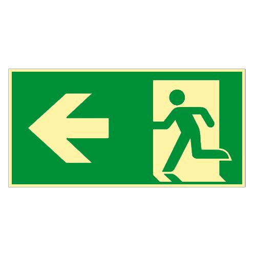 Rettungsweg-links-Kunststoff-nachleuchtend-selbstkl-Fluchtweg-Notausgang