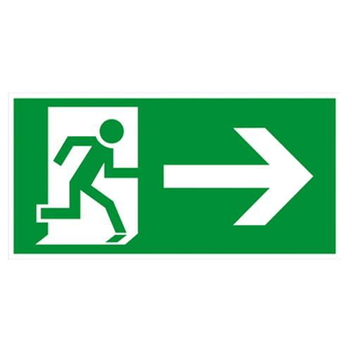 Notausgang-Fluchtweg-Rettungsweg-Schild-rechts-Kunststoff