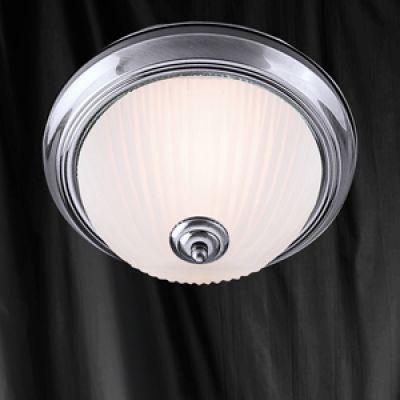 Deckenleuchte geripptes Milchglas Silber Deckenlampe Bad