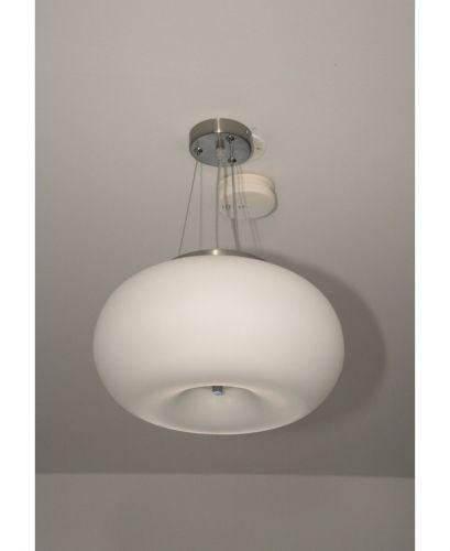 Luce a sospensione bianco cromato vetro lampada soggiorno for Lampada moderna sala pranzo