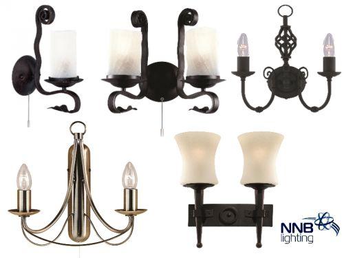 Wandleuchte wandlampe 1 2 flammig glas metall rustikal antikmessing schwarz led ebay - Wandleuchte rustikal ...