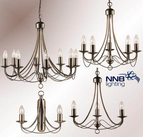 kronleuchter pendelleuchte wandlampe 2 3 5 und 8 flammig antikmessing neu led. Black Bedroom Furniture Sets. Home Design Ideas