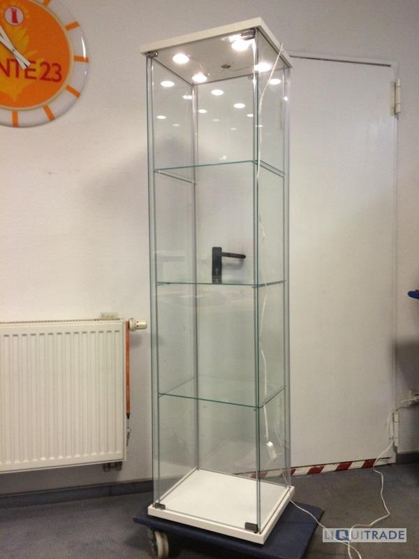 ikea vitrine detolf mit led beleuchtung 43 x 163 cm ebay. Black Bedroom Furniture Sets. Home Design Ideas