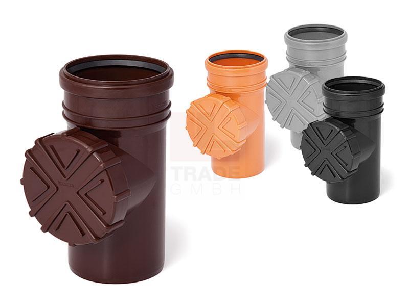 reinigungsrohr mit sieb f dachrinnen fallrohr 110 mm orange rohr schraub deckel ebay. Black Bedroom Furniture Sets. Home Design Ideas