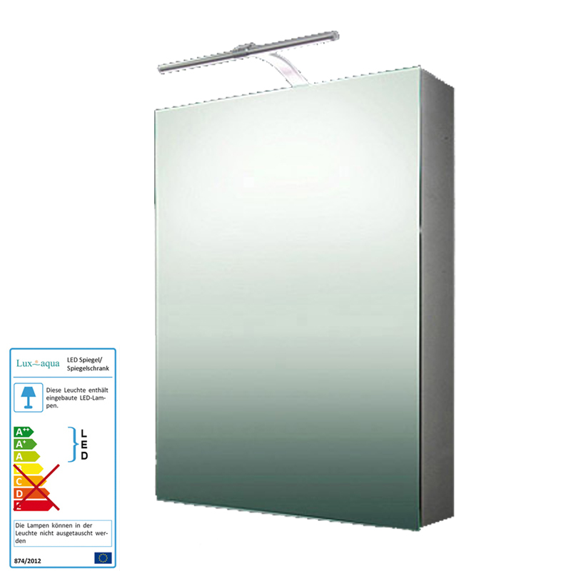 alu spiegelschrank beleuchtet badezimmer badspiegel mit led beleuchtung 50x70 cm ebay. Black Bedroom Furniture Sets. Home Design Ideas