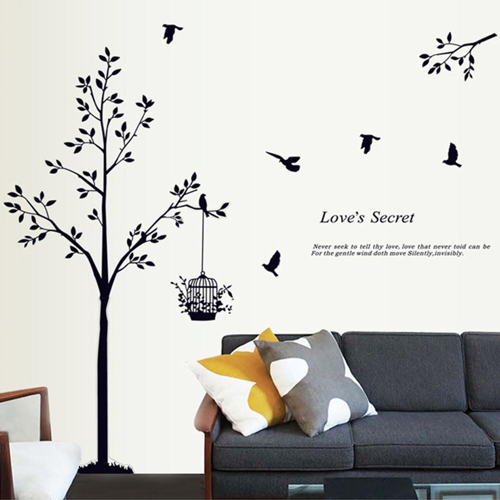 Baum mit vogelk fig und v geln wandsticker eulen for Wohnraum deko