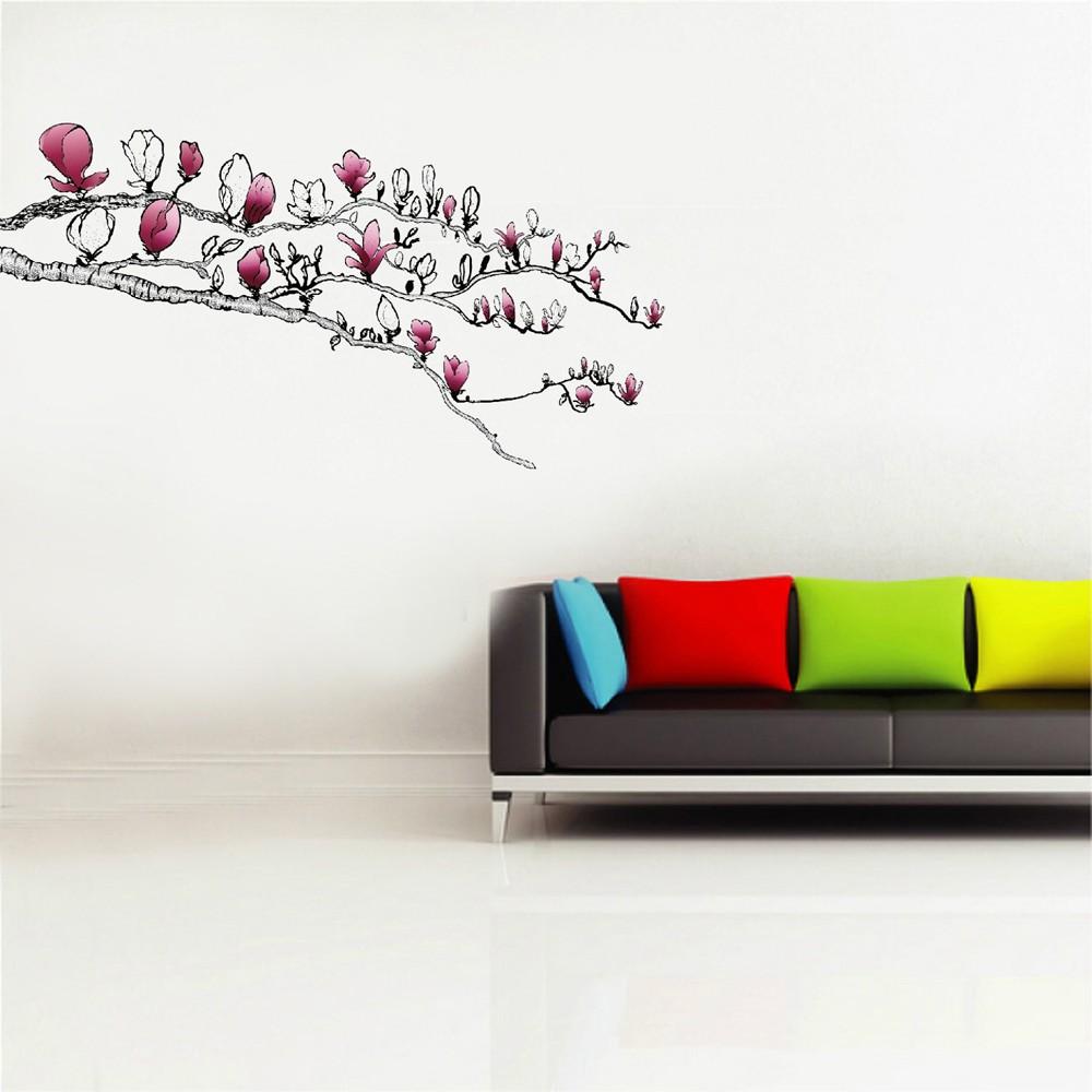 Ast mit magnolien wandsticker wohnraumgestaltung for Wohnraumgestaltung wohnzimmer