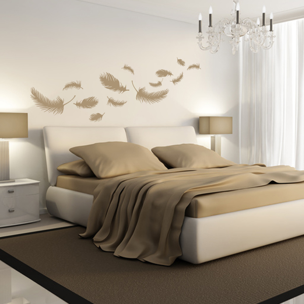 federn wandtattoo wanddeko sticker schlafzimmer wohnraumdesign feathers ebay. Black Bedroom Furniture Sets. Home Design Ideas
