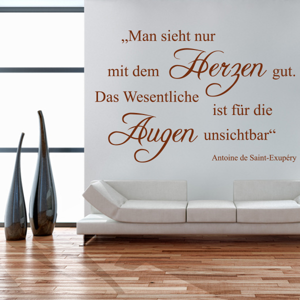 man sieht nur mit dem herzen gut wandtattoo kleiner prinz spruch sticker deko ebay. Black Bedroom Furniture Sets. Home Design Ideas