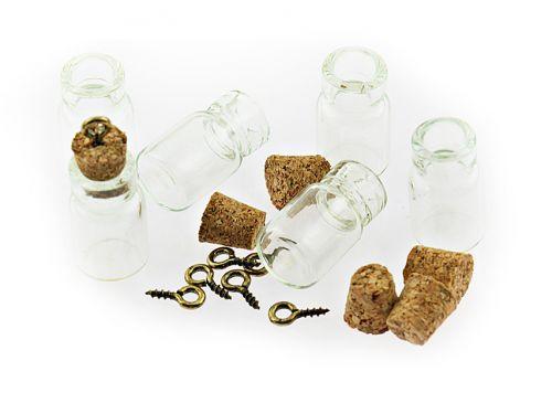 6 kleine bef llbare glasflaschen mit korken und se ebay. Black Bedroom Furniture Sets. Home Design Ideas