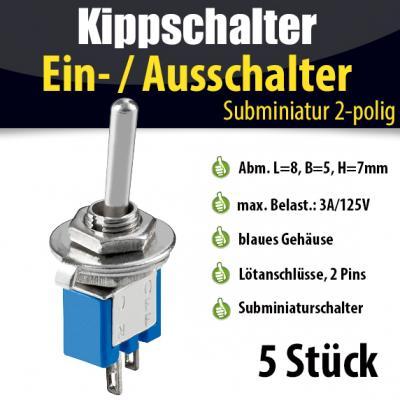 5x-Kippschalter-Subminiatur-Ein-Aus-Schalter-2-Polig-Miniatur