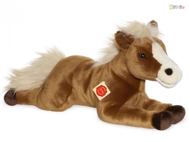 teddy hermann gro es pferd pl schtier pl schpferd pony braun liegend 51 cm ebay. Black Bedroom Furniture Sets. Home Design Ideas